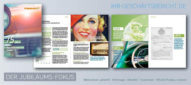 Geschäftsbericht mit Fokus auf ein Jubiläum