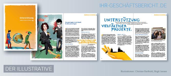 Abbildung eines Geschäftsberichts mit verschiedenen Illustrationen