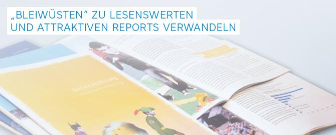Unser Kölner Agentur-Team erstellt, designt, layoutet und entwickelt für Sie attraktive und lesenswerte Jahres- und Geschäftsberichte bzw. Annual Reports (engl.)