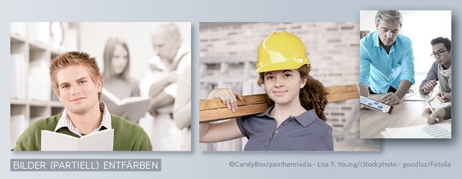 Beispiele für entfärbte Bilder, bei denen jeweils ein Motivteil koloriert bleibt