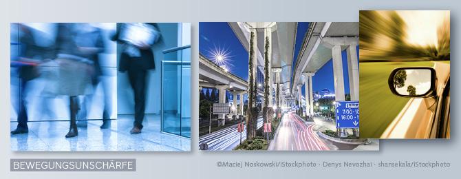 Beispiel für Bilder mit Bewegungsunschärfe bei Tages- und Nachtlicht