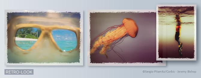 Beispiele für Bilder im Retro-Look (durch das Einfügen von Knicken und Farbstichen, die durch spezielle Filter erzeugt werden)