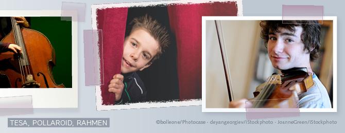 Beispiele, wie Bilder mit Tesastreifen, Fotoecken sowie einem ausgefransten Rand ins Layout eingefügt werden.