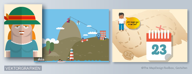 Vektorgrafiken (abstraktere, flächige Illustrationen) als Alternative zu Bildern