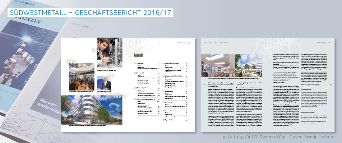 Cover, Aufmacher- und Innenseite eines Geschäftsberichts