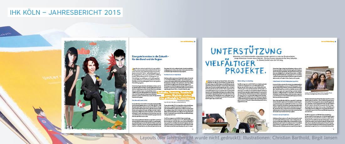 Jahresbericht mit Openerseite und Cover mit Illustrationen