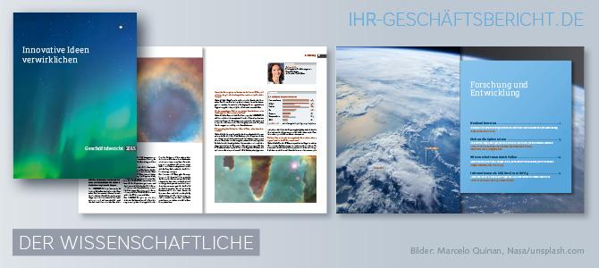 Attraktiv gestalteter Geschäftsbericht mit Visuals aus dem Weltraum