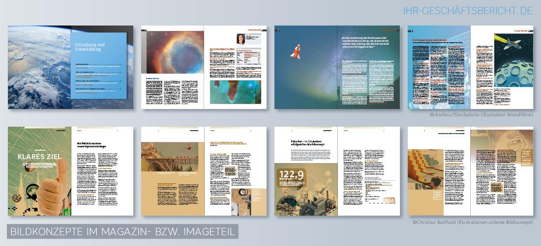Beispiele für Bildkonzepte im Magazin- bzw. Imageteil in Jahres- und Geschäftsberichten.