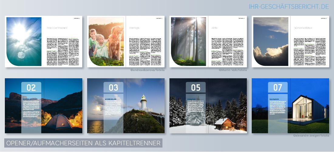 Beispiele von Bildkonzepten für die Opener bzw. Aufmacherseiten als Kapiteltrenner für Jahres- und Geschäftsberichten.