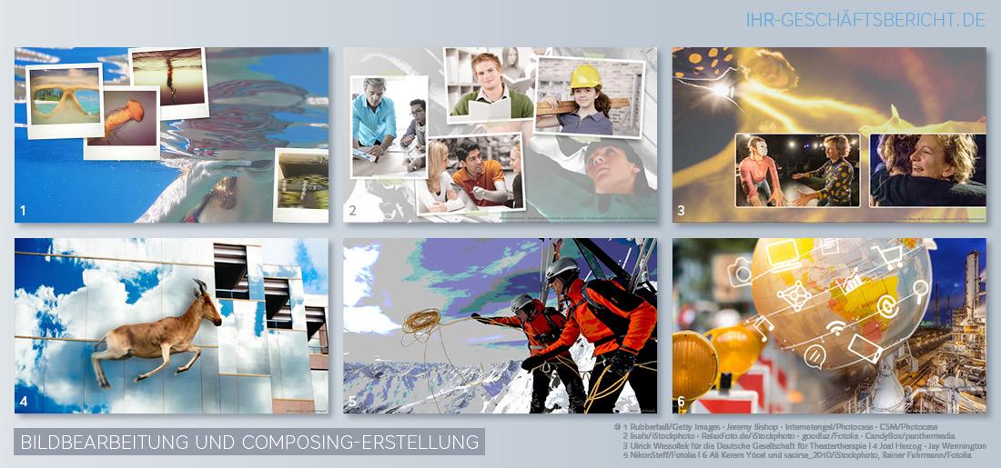 Beispiele für Bildbearbeitung und Composing-Erstellung durch das Einfügen von Bildelementen für Bilder in Jahres- und Geschäftsberichten.