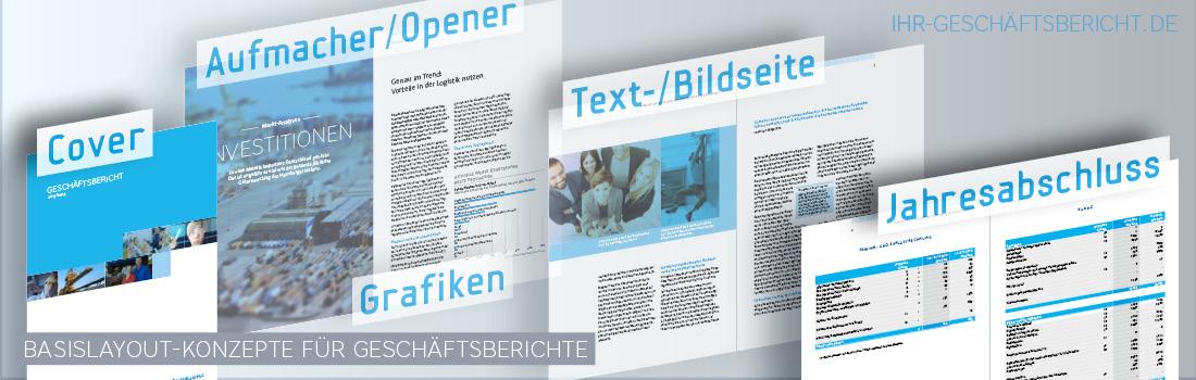 Basislayout eines Geschäftsberichts mit mit Cover, Aufmacher-Seite bzw. Opener, Text-/Bildseite, Infografiken und Jahresabschluss.