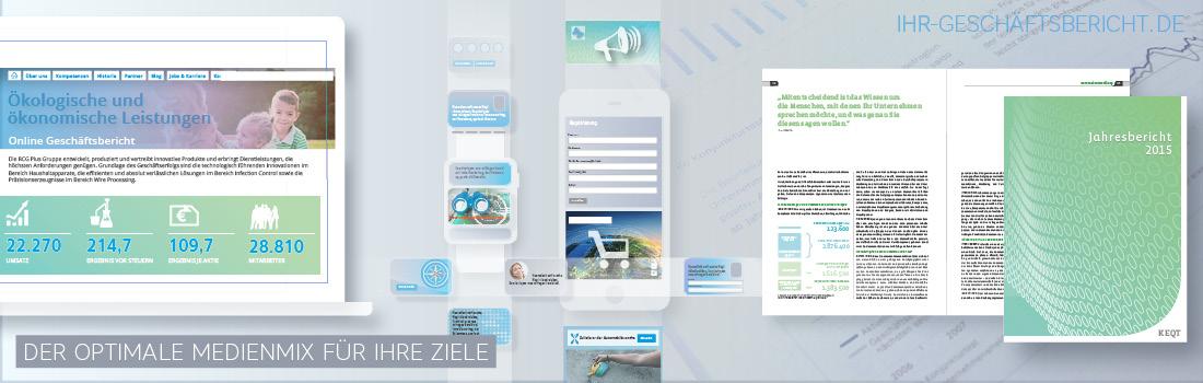 Grafik zeigt einen optimalen crossmedialen Medienmix für Geschäftsberichte für Print, PDF, Online und App.