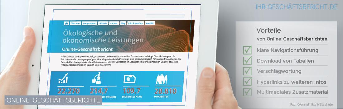 Online-Geschäftsberichte bieten viele Vorteile wie eine klare Navigationsführung, Downloadfunktionen, Verschlagwortungen, Hyperlinks und das Einbinden von multimedialen Zusatzmaterial.