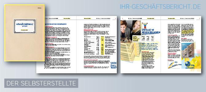 Geschäftsbericht, der in einem Stilmix aus Skizzen, Zeichnungen, Fotos und handgeschriebenen Texten wie selbstgebastelt wirkt.