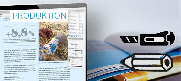 Zur Produktion von Jahresberichten und Geschäftsberichten zählen Leistungen wie Reinzeichnungs- und Druckdatenerstellung, Bildbearbeitung und Programmierung.