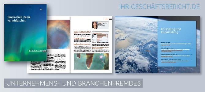 Konzepte mit branchenfremden Themen in Jahresberichten und Geschäftsberichten ist z. B. ein Bericht über ein Engagement.