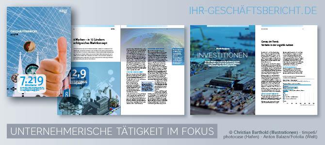 Konzepte, die das Unternehmen in den Fokus eines Geschäftsberichts stellen können Innovationen, Investitionen, neue Geschäftsmodelle, Standorte oder Absatzmärkte sein.
