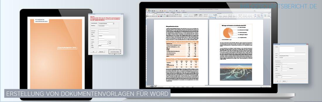 Wir entwicklen Ihnen Dokumentenvorlagen für Word, mit denen Sie Jahresberichte und Geschäftsberichte selbst erstellen können.